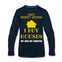 Load image into Gallery viewer, I BUY HOUSES COLLECTION Men's Premium Long Sleeve T-Shirt - deep navy