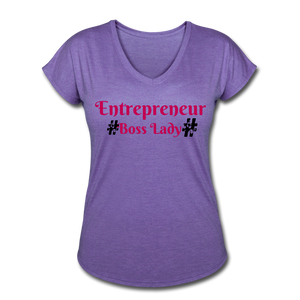 BOSS LADY COLLECTION Women's Tri-Blend V-Neck T-Shirt - purple heather