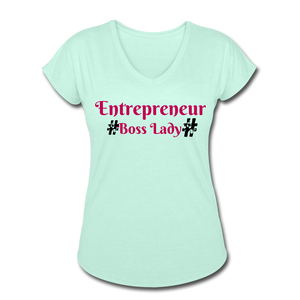 BOSS LADY COLLECTION Women's Tri-Blend V-Neck T-Shirt - mint