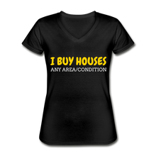 Load image into Gallery viewer, I BUY HOUSES Women's V-Neck T-Shirt - black