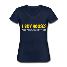 Load image into Gallery viewer, I BUY HOUSES Women's V-Neck T-Shirt - navy