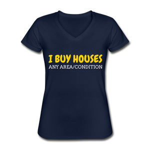 I BUY HOUSES Women's V-Neck T-Shirt - navy