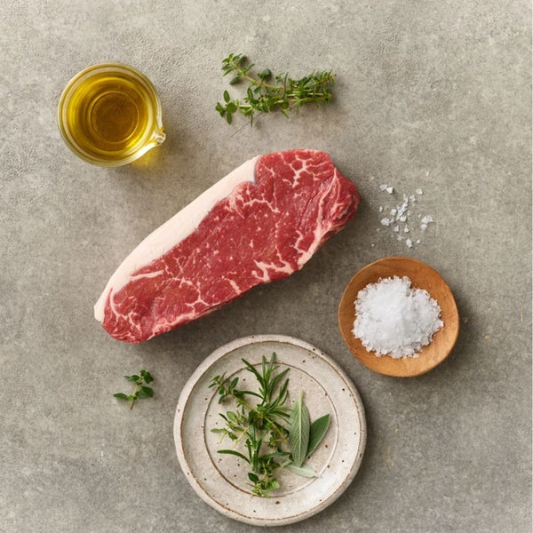 Best Fresh Barley Fed Free-Range Beef Striploin Steak MS2 [Australian] - SuperFresh Grocer Singapore
