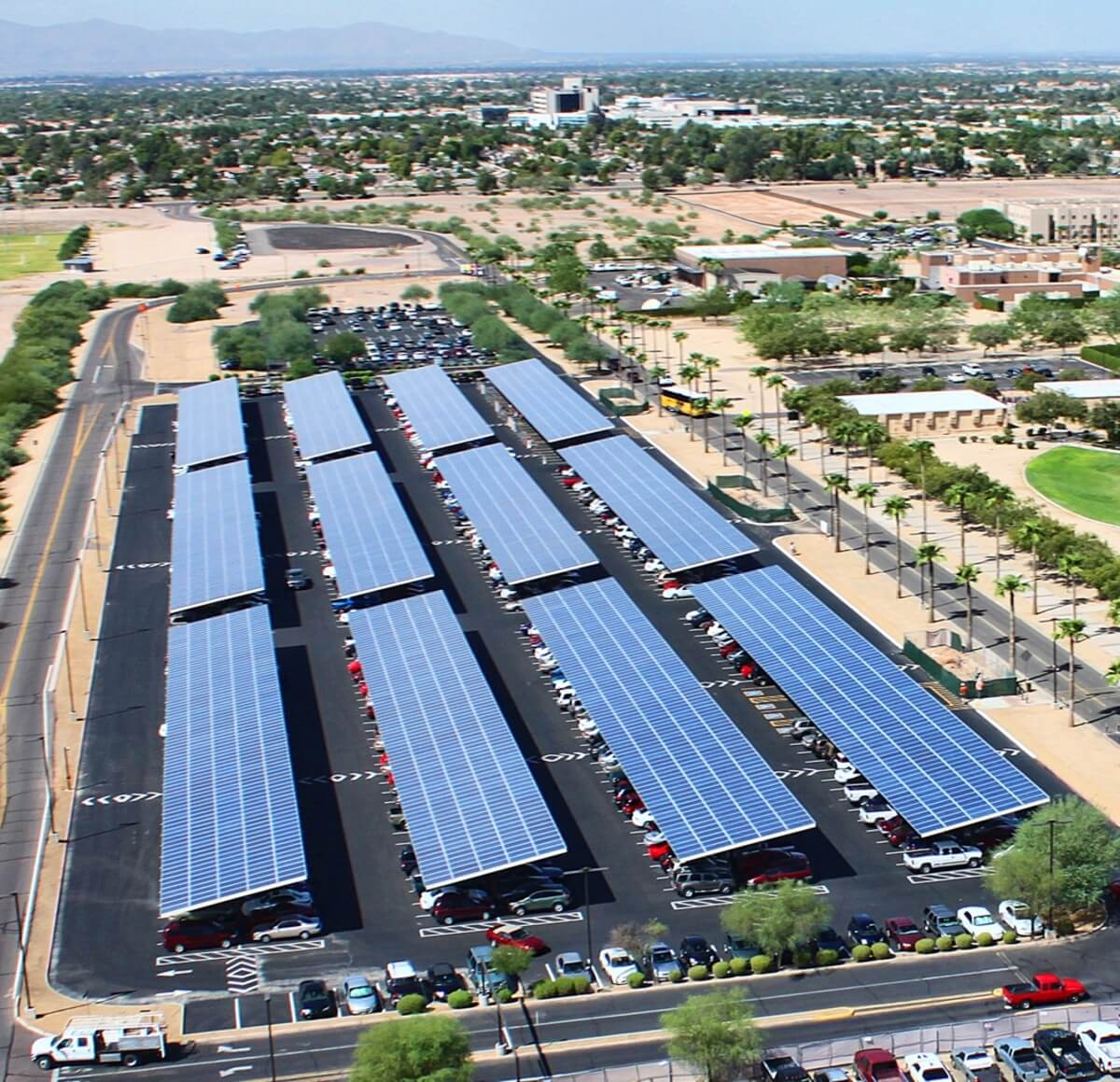 Solar Panels in a Parking Lot