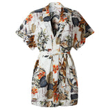 Womens Summer Clothing Button Printed V-Neck Short Sleeved Dress