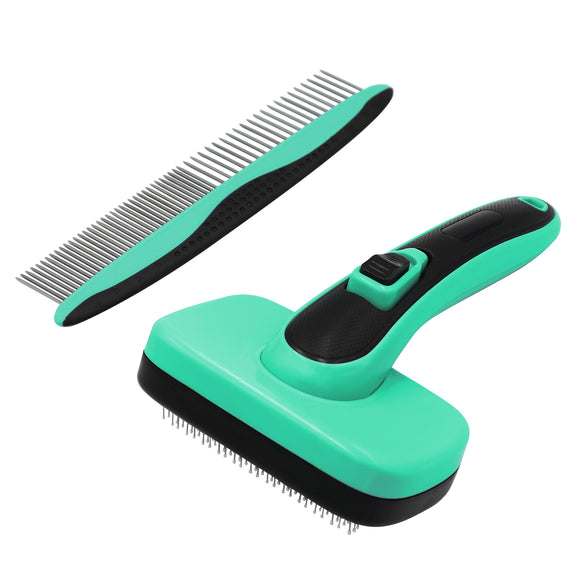 Self-Cleaning Slicker Brush+Stainless-Steel Comb, Easy to Clean Dog Brush, Retractable Pet Grooming Brush, Premium Grooming Tool