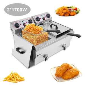 [UK Standard] ZOKOP EH102V 16.9QT / 16L Total Capacity 24.9QT/23.6L Stainless Steel Faucet Double Tank Deep Fryer 3400W