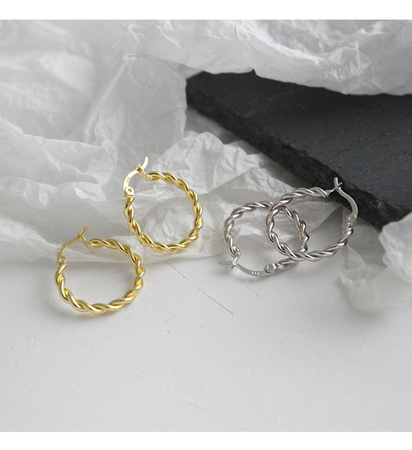 925 Sterling Silver Handmade Jewelry Twist Ring Earrings For Student