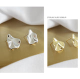 Minimalist Geometric Gold Tone Sterling Silver Irregular Stud Earrings for Women Girls Gift