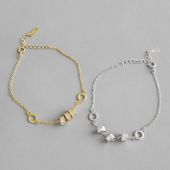 925 Sterling Silver Gold Plated Jewelry Lucky Beads Chain Bracelet White Zirconia