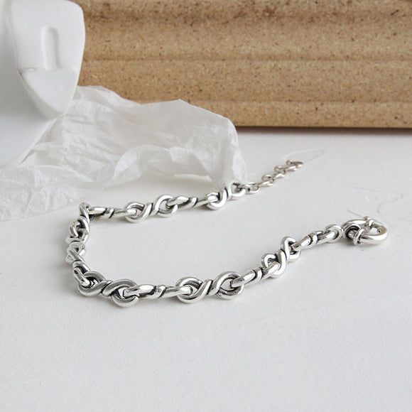 925 Sterling Silver Retro Bracelet Vintage Womens Jewelry