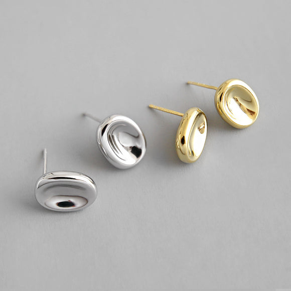 Simple Geometric Stud Earrings for Women, Sterling Silver Jewelry In White Gold, Yellow Gold