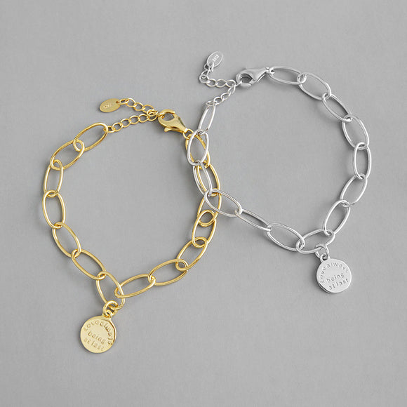 925 Sterling Silver Gold Plated Jewellery Link Bracelet With Round Tag Charms