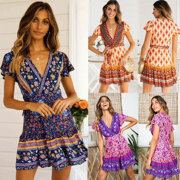 Womens Clothing Summer Fashion Printed Lace Short Sleeve Deep V-Neck Dress