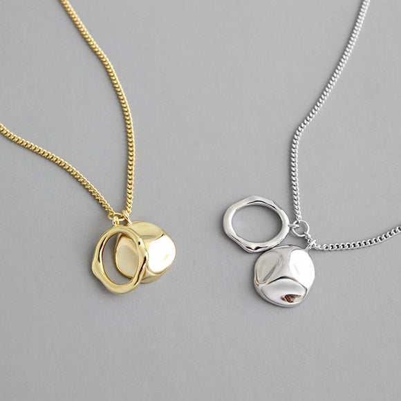 Round Circle Charms Pendants Necklace,18k Gold Plated Simple Chain Necklace Birthday Gifts for Women