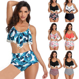 Women's Floral Swimsuit Print Top Two Piece Strappy Bikini Set Bathing Suits