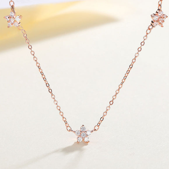 925 Silver Jewlery Clavicle Chain Necklace With Zircon Mini Star