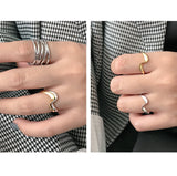 925 Sterling Silver Gold Plated Jewelry Womens Open Ring Size 6.5 Irregular Wavy Shape