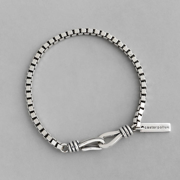 925 Sterling Silver Jewellery Vintage Chunky Box Chain Bracelet For Women Men Lovers