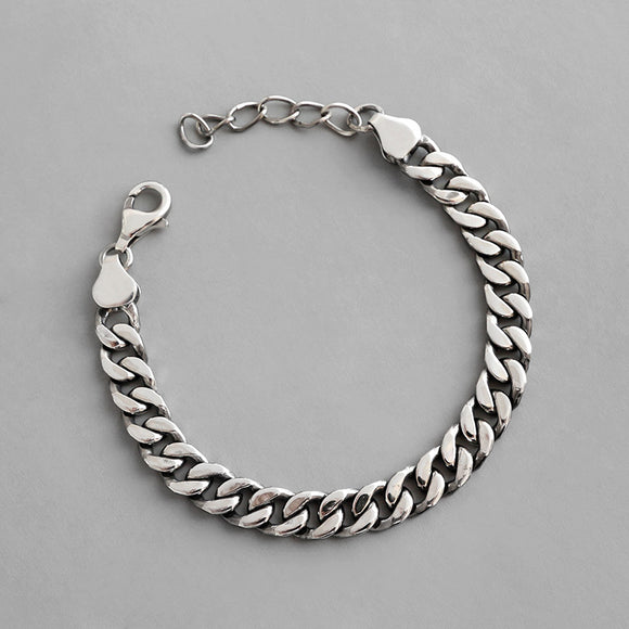 925 Sterling Silver Jewelry Flat Chain Bracelet For Women Men Lovers