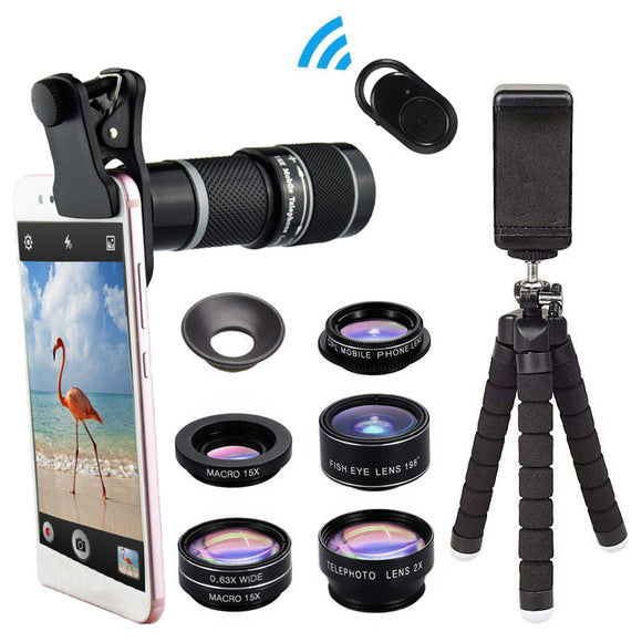 Phone Camera Lens with 18x Telephoto Lens, 8 in 1 Cell Phone Lens Kit