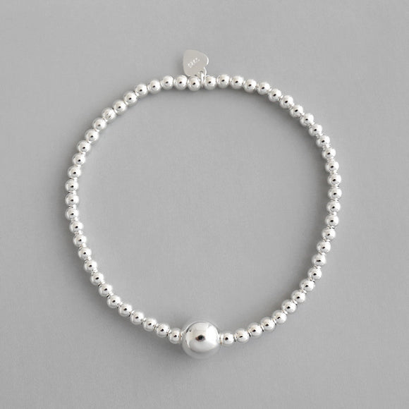925 Sterling Silver Fine Jewellery 3mm Beads Strand Bracelet