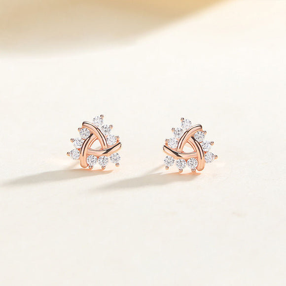 925 Sterling Silver Cluster CZ Rose Gold Plated Stud Earrings For Women