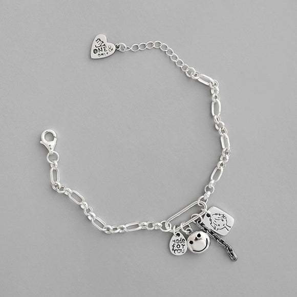 925 Sterling Silver Retro Jewelry Charms Tag Link Bracelet For Women