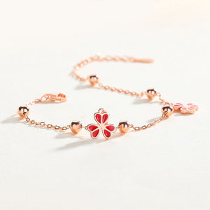 925 Silver Rose Gold Plated Chain Bracelet With Charms For Women