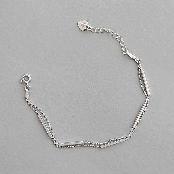 925 Sterling Silver Rhodium Plated Jewellery Double Chain Bracelet For Students