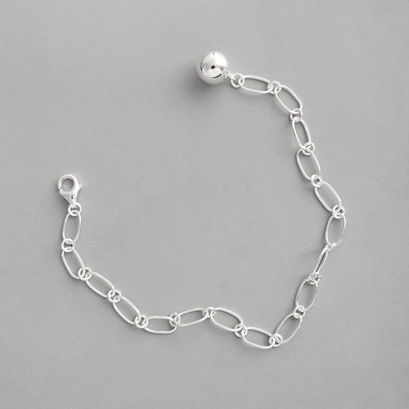 925 Sterling Silver Women's Jewelry Link Chain Bracelet Round Bead Charm