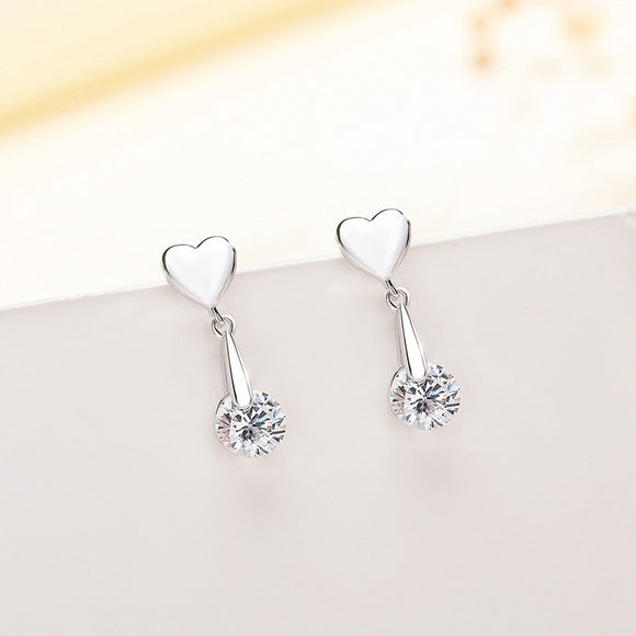 925 Sterling Silver Love Earrings White Gold Plated High Polish Jewelry