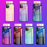 iPhone 12 Pro Max Tempered Glass Screen Protector Gradient Color Pattern+TPU Anti Scratch Mobile Phone Case Protective Cover