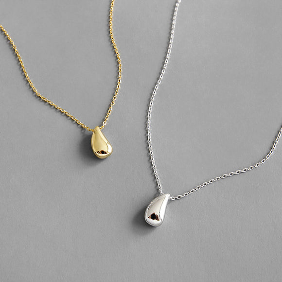 Sterling Silver Teardrop Pendant Necklace, Minimalist Simple Tiny Bead Pendant Choker Necklace