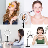 Selfie Ring Light with Stand, Phone Holder for Makeup Live Stream Video Photography TikTok YouTube