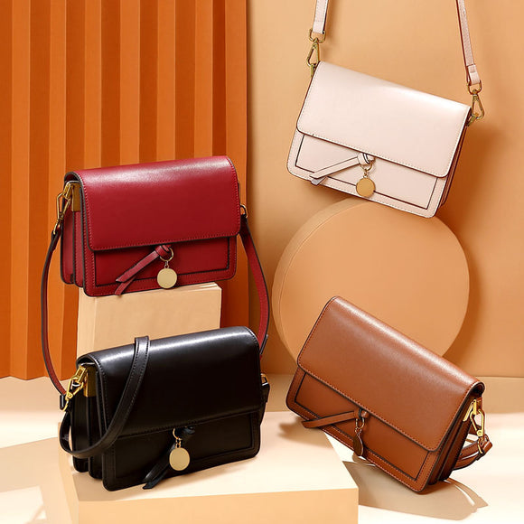 Women's Leather Bag fashion Small Single Shoulder Messenger Bag Square Bag