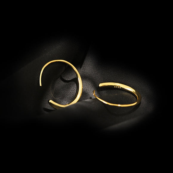 Open Hoop Drop Earrings for Women and Girls, Pull Through Threader Earrings