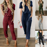 Womens Clothing Summer Pure Color Lace V-Neck Short Sleeves Slim Jumpsuit