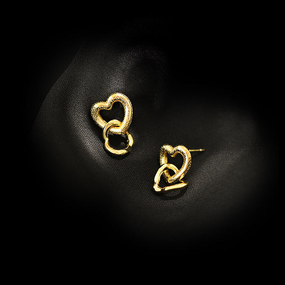 925 Sterling Silver Jewelry Hollow Double Heart Stud Earrings Gift For Lover