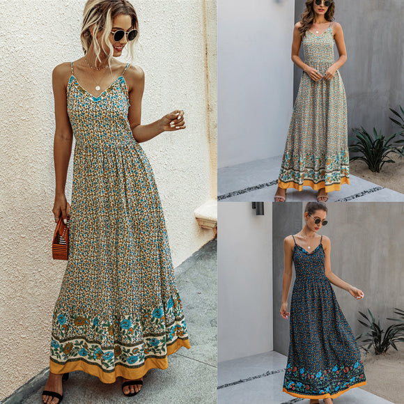 Womens Clothing Summer Fashion Print Long Slip Cotton Dresses