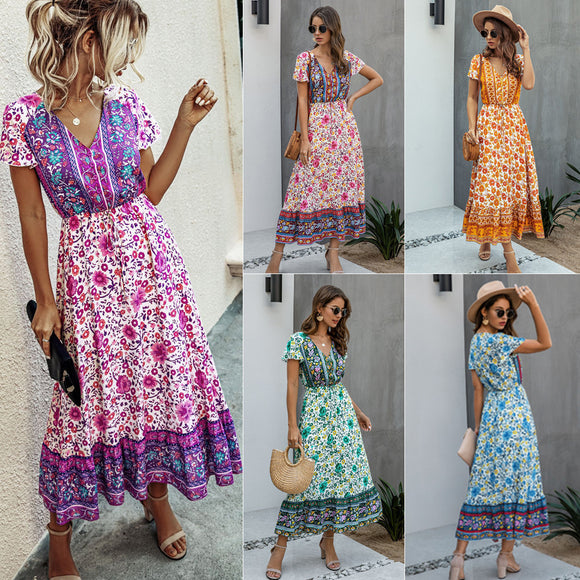 Womens Summer Clothing Fashion Printed V-Neck Short Sleeve Long Tight Dress