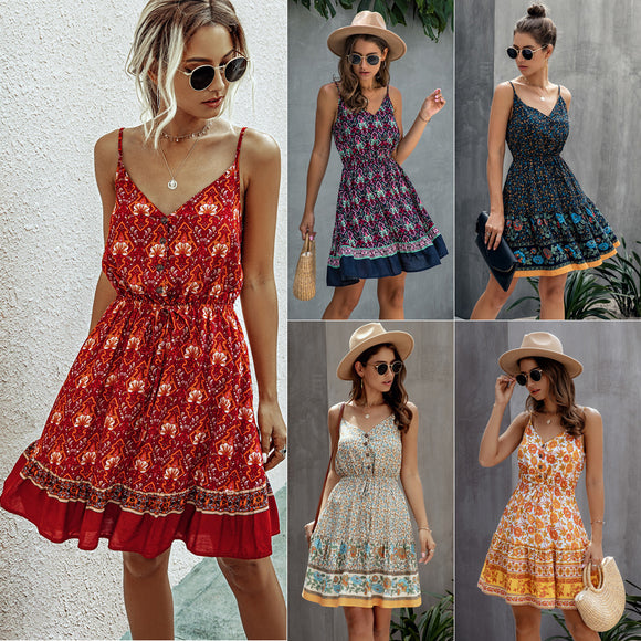 Womens Clothing Summer Fashion Print V Neck Button Elastic Waist Lace Up Dress