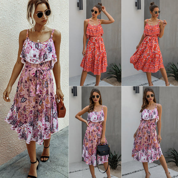 Womens Clothing Fashion Printed Tight Waist Midi Length Slip Dress