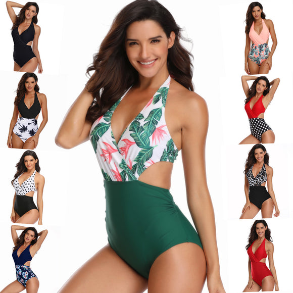 One-Piece Womens Bathing Suits Multi-Color Floral Printing Swimsuit Bikini