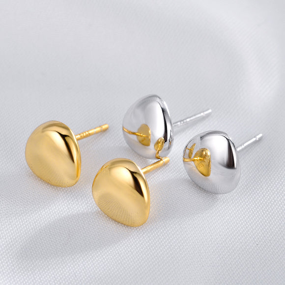 Plain 925 Silver Stud Earrings Trendy Gold Plated Jewelry For Women