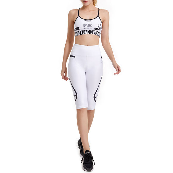 Summer Fitness Vest Yoga Suit With a Cropped Pant Print Bra