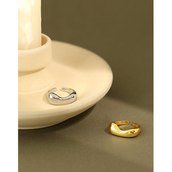 Open 925 Silver Ring #6.5 For Womens Girls, High Polish Rhodium & Yellow Gold Plated Jewellery