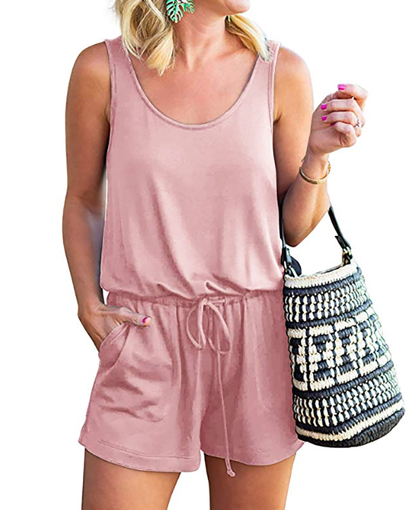 Womens Summer Clothes Fashion Round Neck Vest Casual Loose Jumpsuit