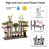 4-Story 12-Seat Indoor And Outdoor Multi-Function Carbonized Wood Plant Stand