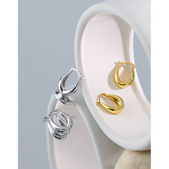 925 Sterling Silver Smooth Circle Earrings White Gold and Yellow Gold Jewelry